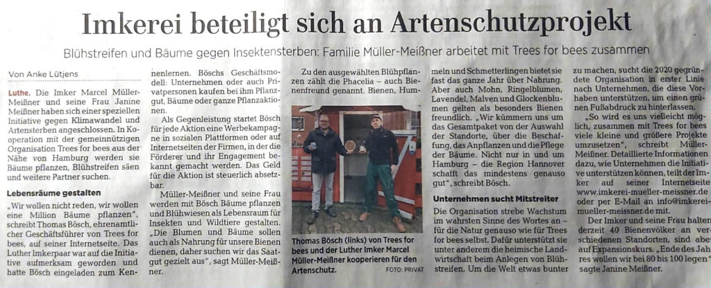 Trees For Bees in der HAZ, Hannoversche Allgemeine Zeitung!
