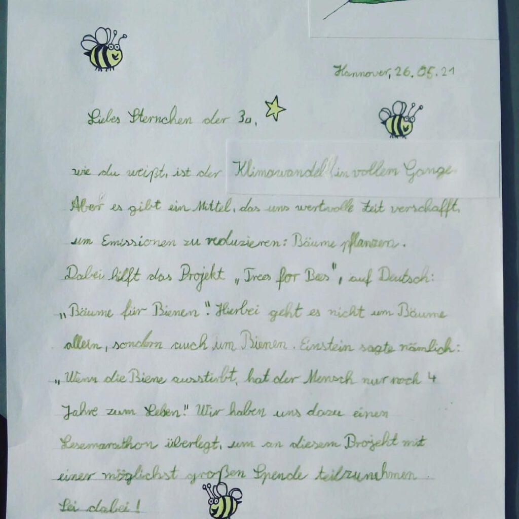 Klasse 3a der Johanna-Friesen-Grundschule Hannover sammelt 450,52 € für neue Bäume!